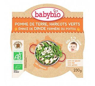 БЕЙБИ БИО МЕНЮ В КУПИЧКА С ПУЕШКО, КАРТОФИ И ЗЕЛЕН ФАСУЛ 230ГР. 12М+